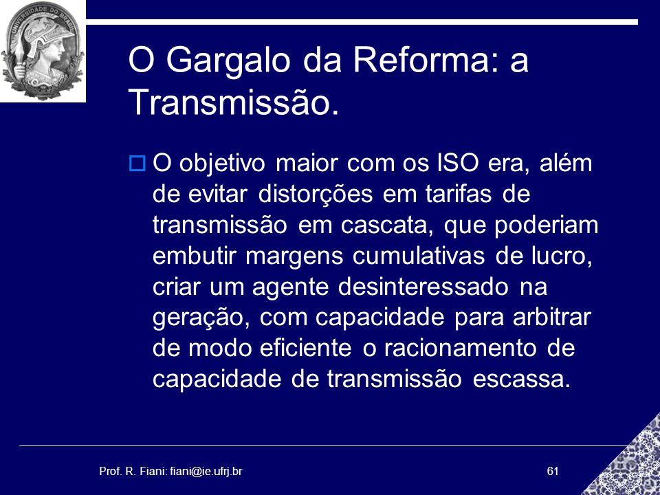 Prof. R. Fiani: fiani@ie.ufrj.br61 O Gargalo da Reforma: a Transmissão. O objetivo maior com os ISO era, além de evitar distorções em tarifas de trans