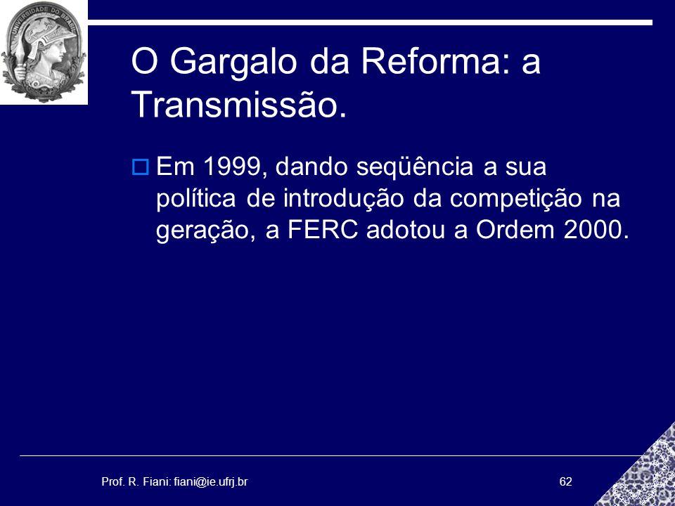 Prof. R. Fiani: fiani@ie.ufrj.br62 O Gargalo da Reforma: a Transmissão. Em 1999, dando seqüência a sua política de introdução da competição na geração