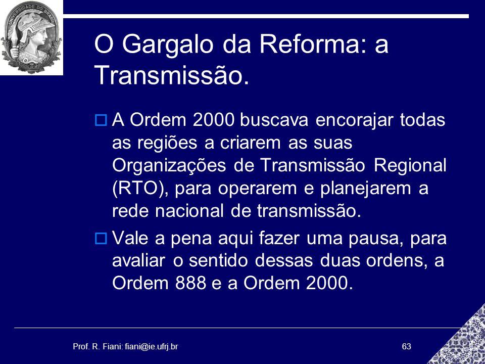 Prof. R. Fiani: fiani@ie.ufrj.br63 O Gargalo da Reforma: a Transmissão. A Ordem 2000 buscava encorajar todas as regiões a criarem as suas Organizações