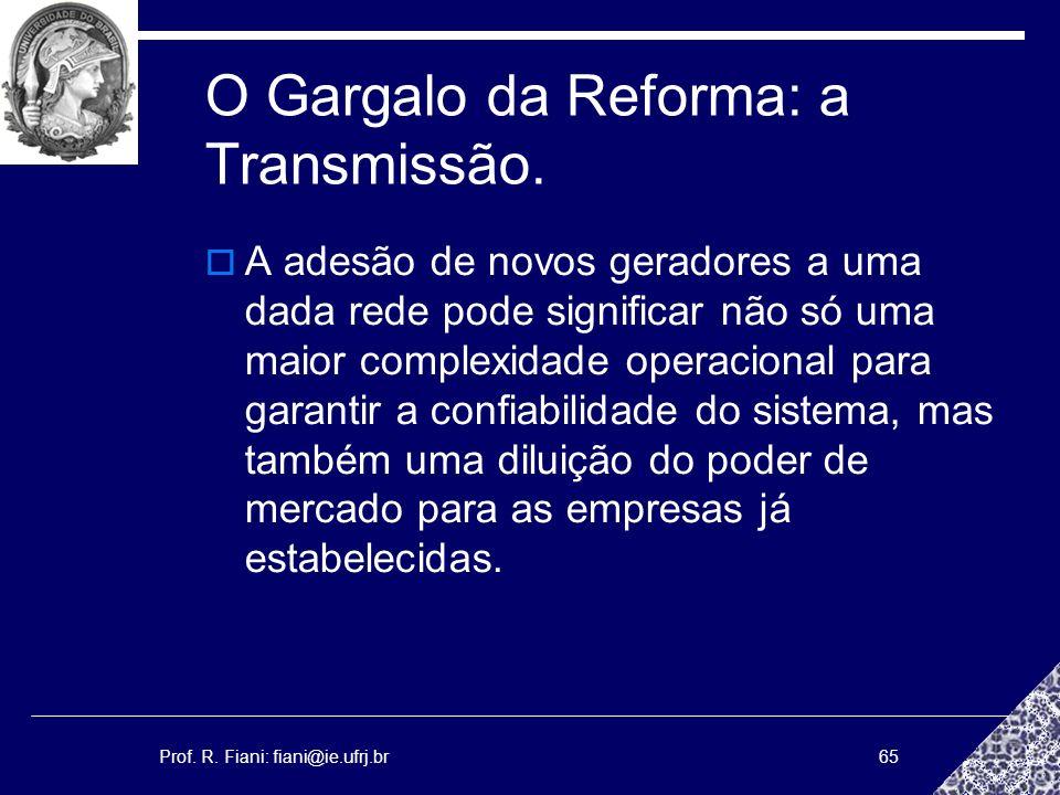 Prof. R. Fiani: fiani@ie.ufrj.br65 O Gargalo da Reforma: a Transmissão. A adesão de novos geradores a uma dada rede pode significar não só uma maior c