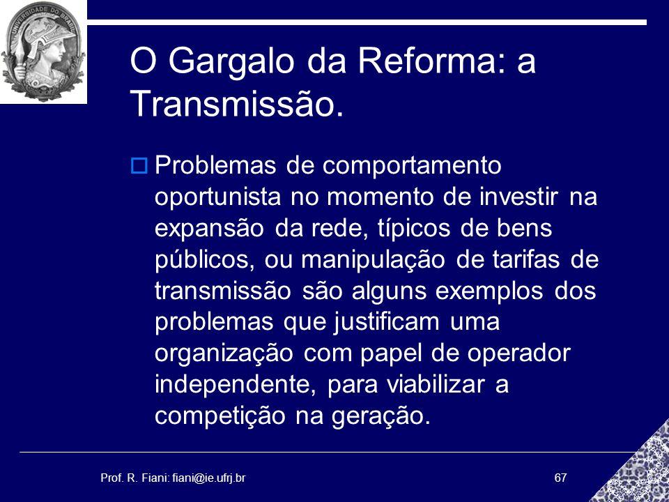 Prof. R. Fiani: fiani@ie.ufrj.br67 O Gargalo da Reforma: a Transmissão. Problemas de comportamento oportunista no momento de investir na expansão da r
