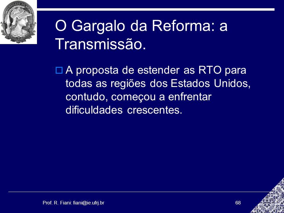 Prof. R. Fiani: fiani@ie.ufrj.br68 O Gargalo da Reforma: a Transmissão. A proposta de estender as RTO para todas as regiões dos Estados Unidos, contud