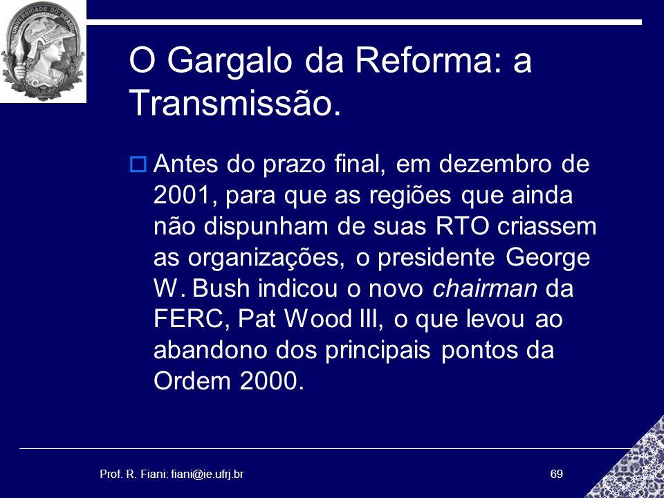 Prof. R. Fiani: fiani@ie.ufrj.br69 O Gargalo da Reforma: a Transmissão. Antes do prazo final, em dezembro de 2001, para que as regiões que ainda não d