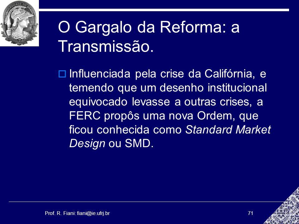 Prof. R. Fiani: fiani@ie.ufrj.br71 O Gargalo da Reforma: a Transmissão. Influenciada pela crise da Califórnia, e temendo que um desenho institucional