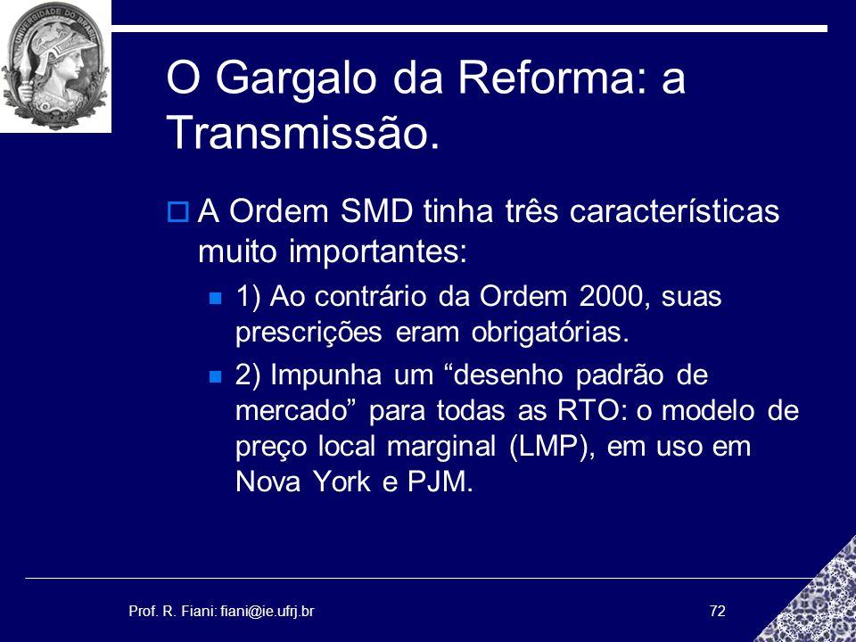 Prof. R. Fiani: fiani@ie.ufrj.br72 O Gargalo da Reforma: a Transmissão. A Ordem SMD tinha três características muito importantes: 1) Ao contrário da O