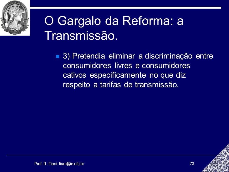 Prof. R. Fiani: fiani@ie.ufrj.br73 O Gargalo da Reforma: a Transmissão. 3) Pretendia eliminar a discriminação entre consumidores livres e consumidores