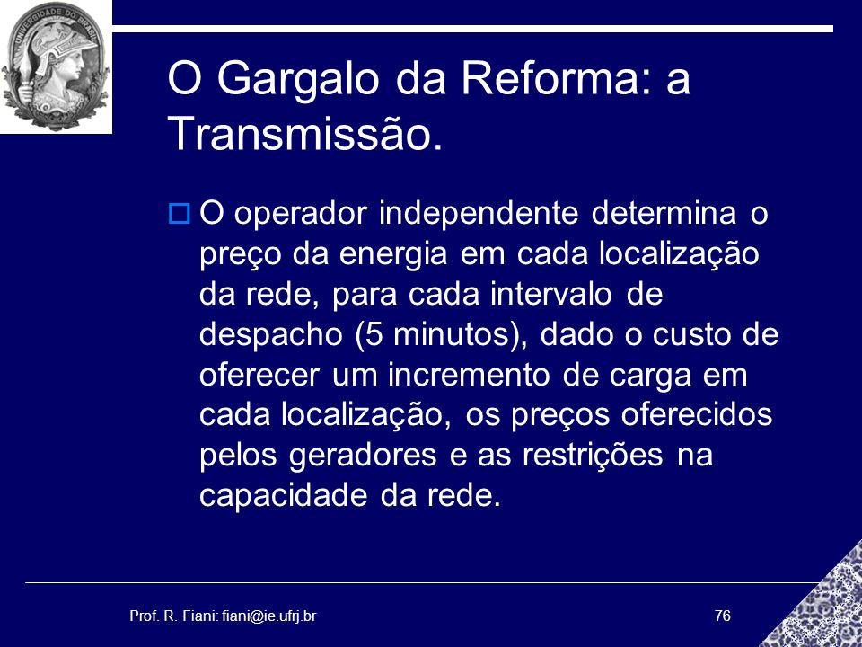 Prof. R. Fiani: fiani@ie.ufrj.br76 O Gargalo da Reforma: a Transmissão. O operador independente determina o preço da energia em cada localização da re