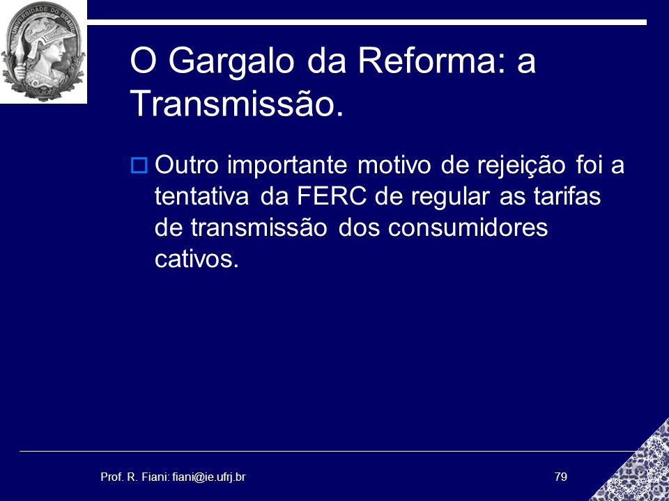 Prof. R. Fiani: fiani@ie.ufrj.br79 O Gargalo da Reforma: a Transmissão. Outro importante motivo de rejeição foi a tentativa da FERC de regular as tari