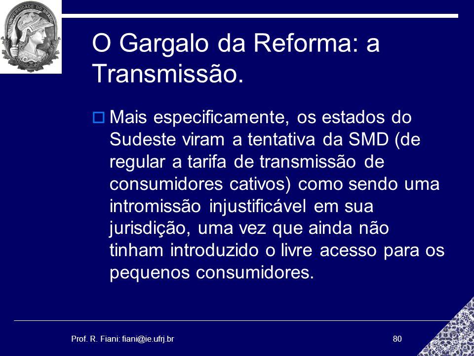 Prof. R. Fiani: fiani@ie.ufrj.br80 O Gargalo da Reforma: a Transmissão. Mais especificamente, os estados do Sudeste viram a tentativa da SMD (de regul