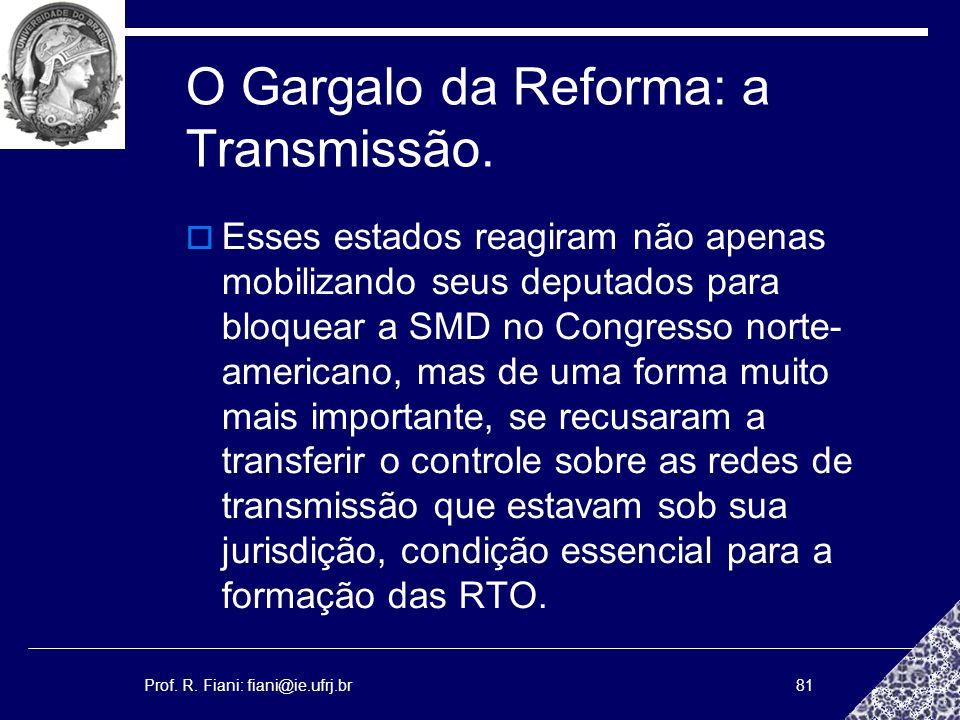 Prof. R. Fiani: fiani@ie.ufrj.br81 O Gargalo da Reforma: a Transmissão. Esses estados reagiram não apenas mobilizando seus deputados para bloquear a S