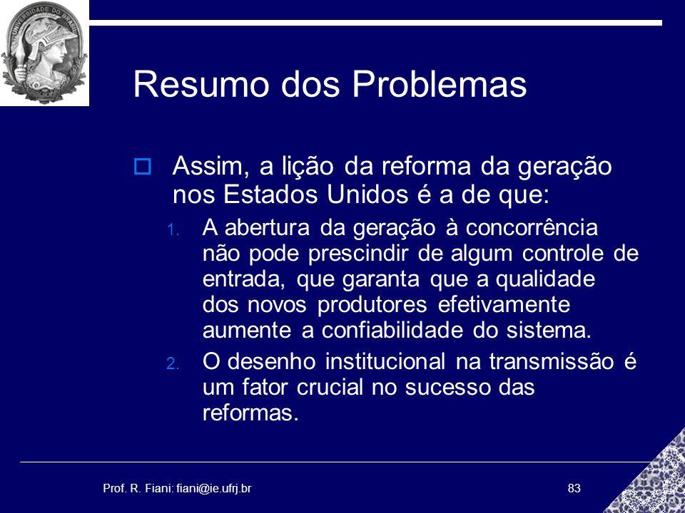 Prof. R. Fiani: fiani@ie.ufrj.br83 Resumo dos Problemas Assim, a lição da reforma da geração nos Estados Unidos é a de que: 1. A abertura da geração à