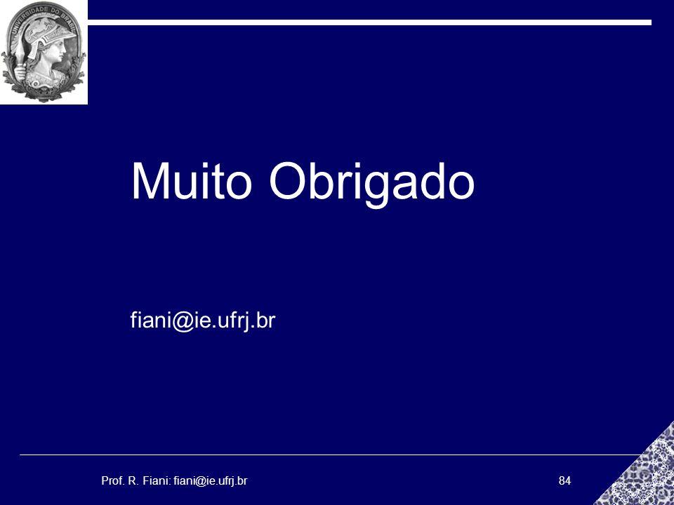 Prof. R. Fiani: fiani@ie.ufrj.br84 Muito Obrigado fiani@ie.ufrj.br