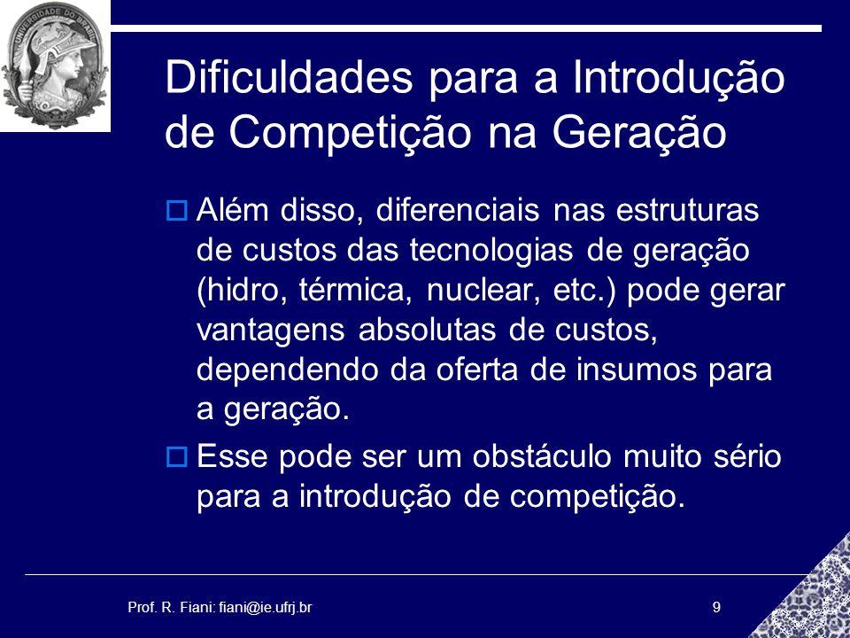 Prof. R. Fiani: fiani@ie.ufrj.br9 Dificuldades para a Introdução de Competição na Geração Além disso, diferenciais nas estruturas de custos das tecnol