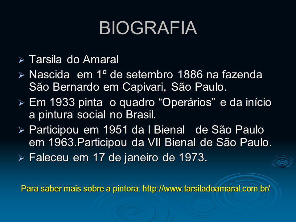 BIOGRAFIA Tarsila do Amaral Tarsila do Amaral Nascida em 1º de setembro 1886 na fazenda São Bernardo em Capivari, São Paulo. Nascida em 1º de setembro