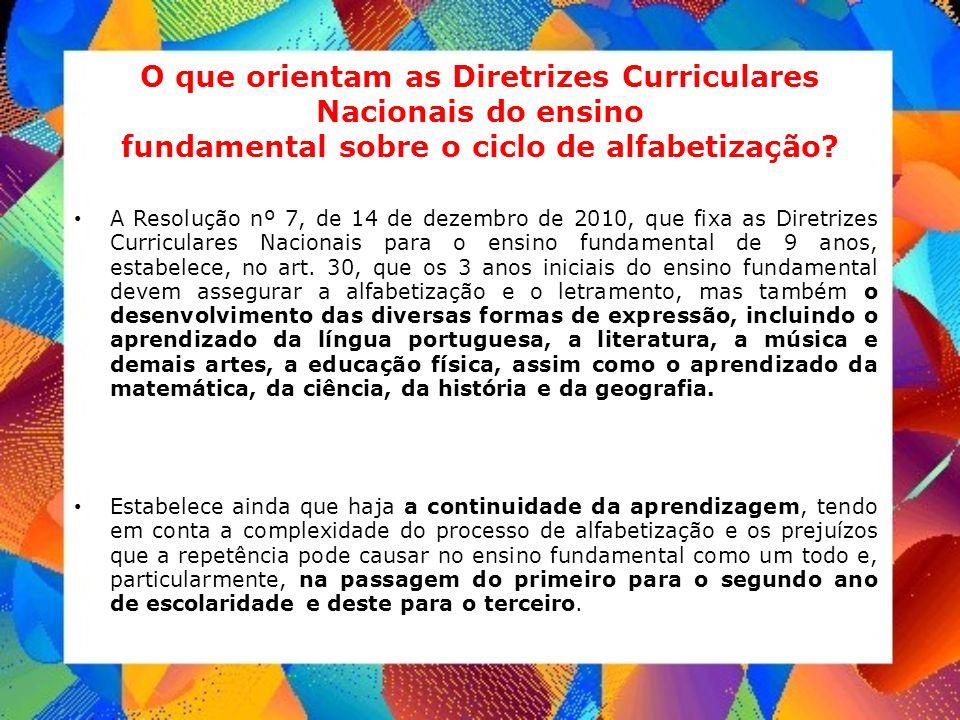 O que orientam as Diretrizes Curriculares Nacionais do ensino fundamental sobre o ciclo de alfabetização? A Resolução nº 7, de 14 de dezembro de 2010,