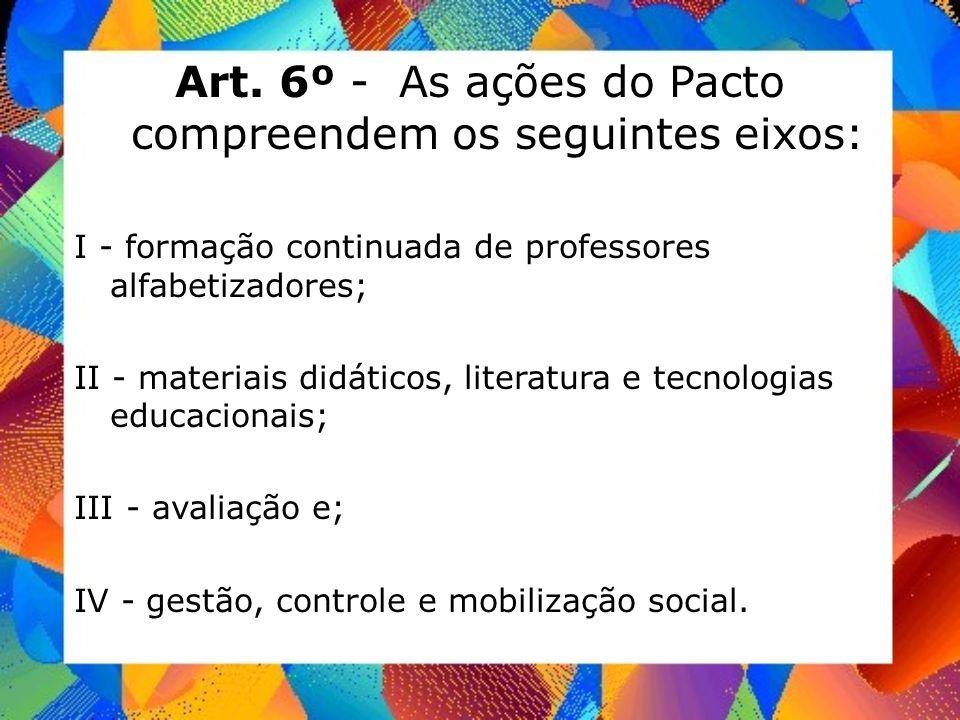 Art. 6º - As ações do Pacto compreendem os seguintes eixos: I - formação continuada de professores alfabetizadores; II - materiais didáticos, literatu