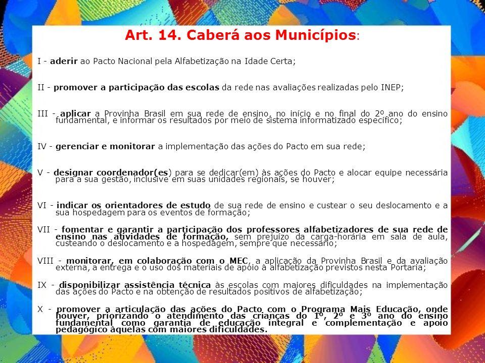 Art. 14. Caberá aos Municípios : I - aderir ao Pacto Nacional pela Alfabetização na Idade Certa; II - promover a participação das escolas da rede nas