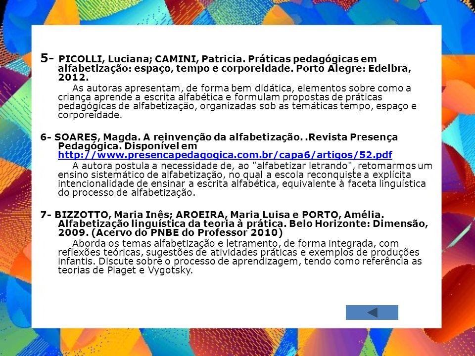 5- PICOLLI, Luciana; CAMINI, Patricia. Práticas pedagógicas em alfabetização: espaço, tempo e corporeidade. Porto Alegre: Edelbra, 2012. As autoras ap