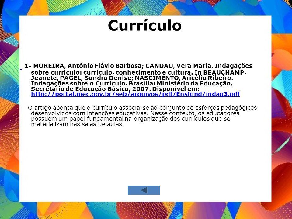 Currículo 1- MOREIRA, Antônio Flávio Barbosa; CANDAU, Vera Maria. Indagações sobre currículo: currículo, conhecimento e cultura. In BEAUCHAMP, Jeanete