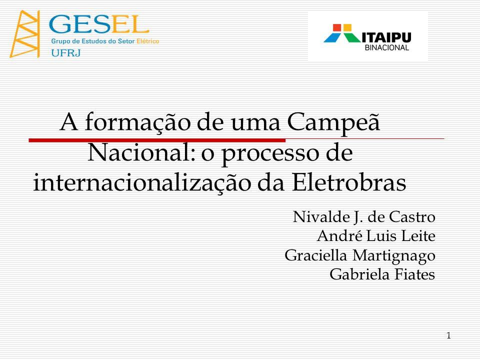 Roteiro Introdução Internacionalização de Empresas Brasileiras O Caso Eletrobras Conclusões GESEL – Grupo de Estudos do Setor Elétrico – IE/UFRJ 2