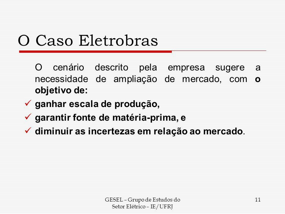 O Caso Eletrobras O cenário descrito pela empresa sugere a necessidade de ampliação de mercado, com o objetivo de: ganhar escala de produção, garantir