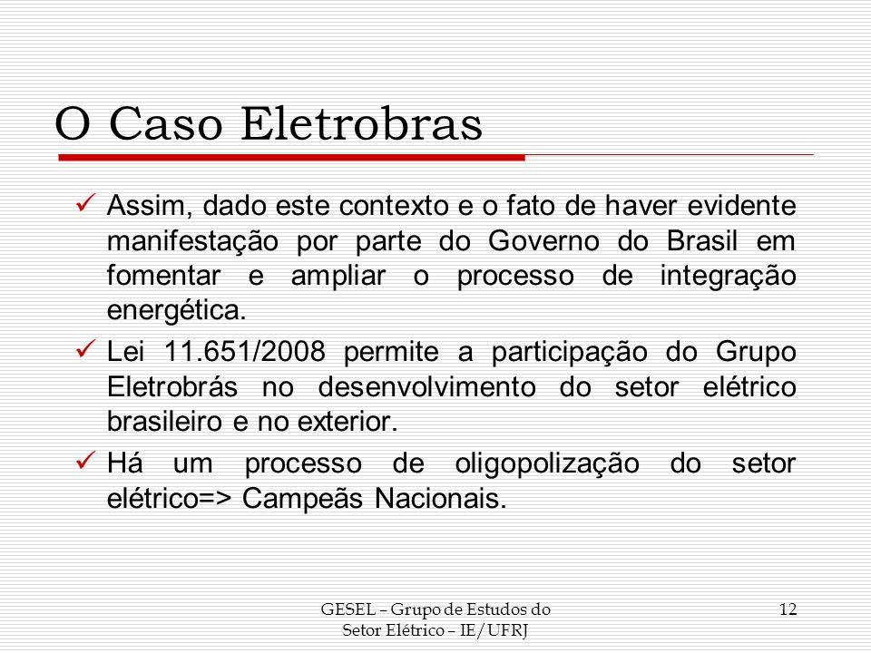 O Caso Eletrobras Assim, dado este contexto e o fato de haver evidente manifestação por parte do Governo do Brasil em fomentar e ampliar o processo de