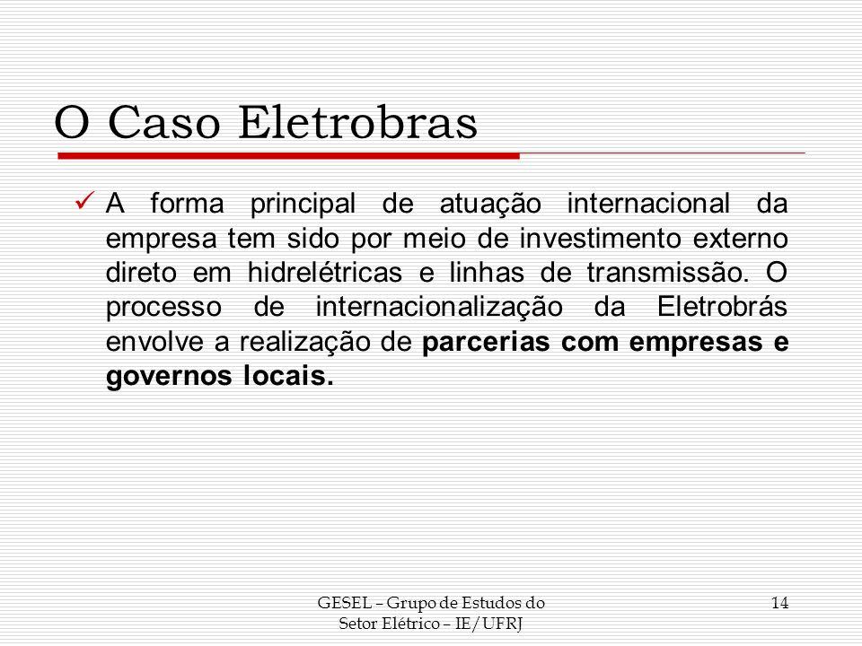 O Caso Eletrobras A forma principal de atuação internacional da empresa tem sido por meio de investimento externo direto em hidrelétricas e linhas de