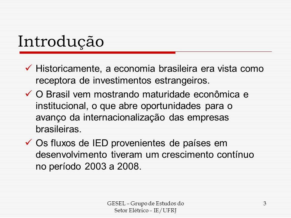 Introdução A maior expressão dos IED brasileiros provocou um aumento do número de estudos sobre a internacionalização de empresas brasileiras em diversos setores, mas poucos enfatizam um fenômeno recente: a expansão internacional de empresas estatais.