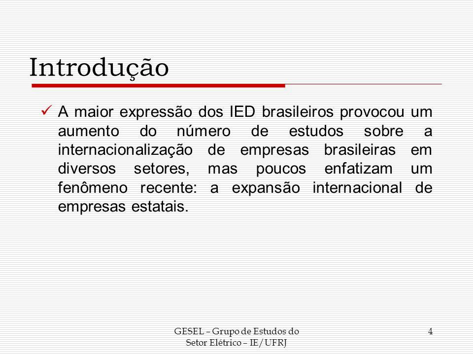 Objetivo Assim, dada a relevância do tema para a economia brasileira, este trabalho visa a descrever os principais aspectos do processo de internacionalização da Eletrobrás, enfocando a relação entre estratégias de empresas e as políticas públicas brasileiras para o setor.