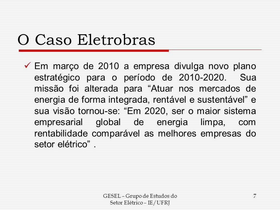 O Caso Eletrobras Em março de 2010 a empresa divulga novo plano estratégico para o período de 2010-2020. Sua missão foi alterada para Atuar nos mercad