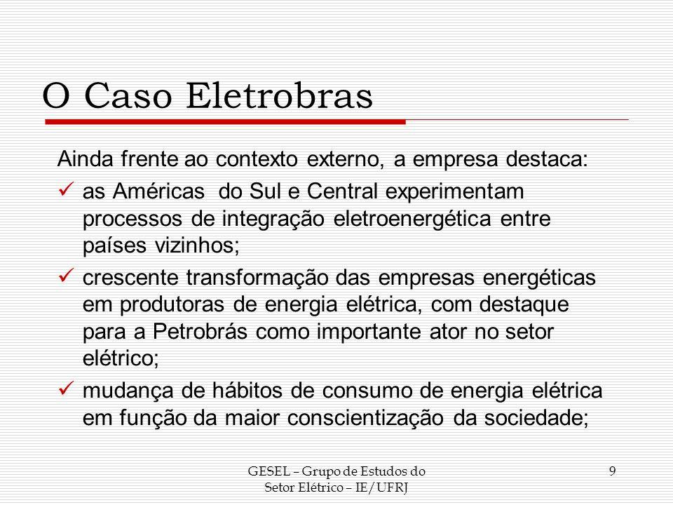O Caso Eletrobras Ainda frente ao contexto externo, a empresa destaca: as Américas do Sul e Central experimentam processos de integração eletroenergét