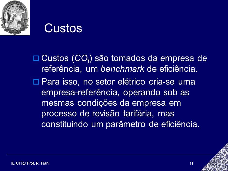 IE-UFRJ Prof. R. Fiani11 Custos Custos (CO t ) são tomados da empresa de referência, um benchmark de eficiência. Para isso, no setor elétrico cria-se