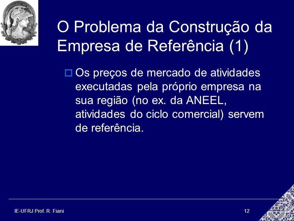 IE-UFRJ Prof. R. Fiani12 O Problema da Construção da Empresa de Referência (1) Os preços de mercado de atividades executadas pela próprio empresa na s