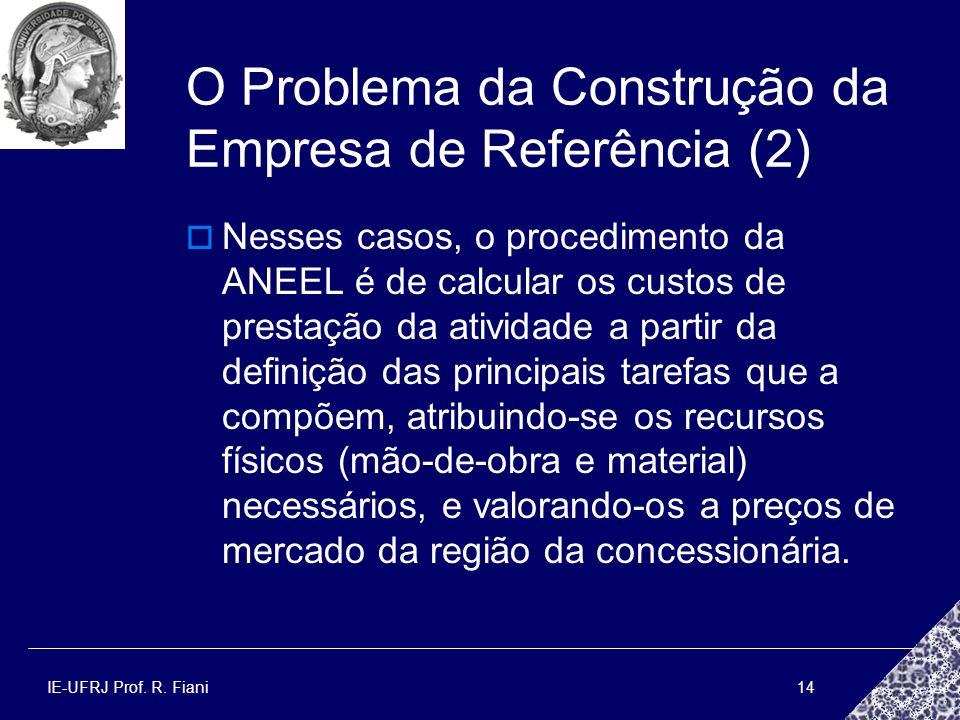IE-UFRJ Prof. R. Fiani14 O Problema da Construção da Empresa de Referência (2) Nesses casos, o procedimento da ANEEL é de calcular os custos de presta