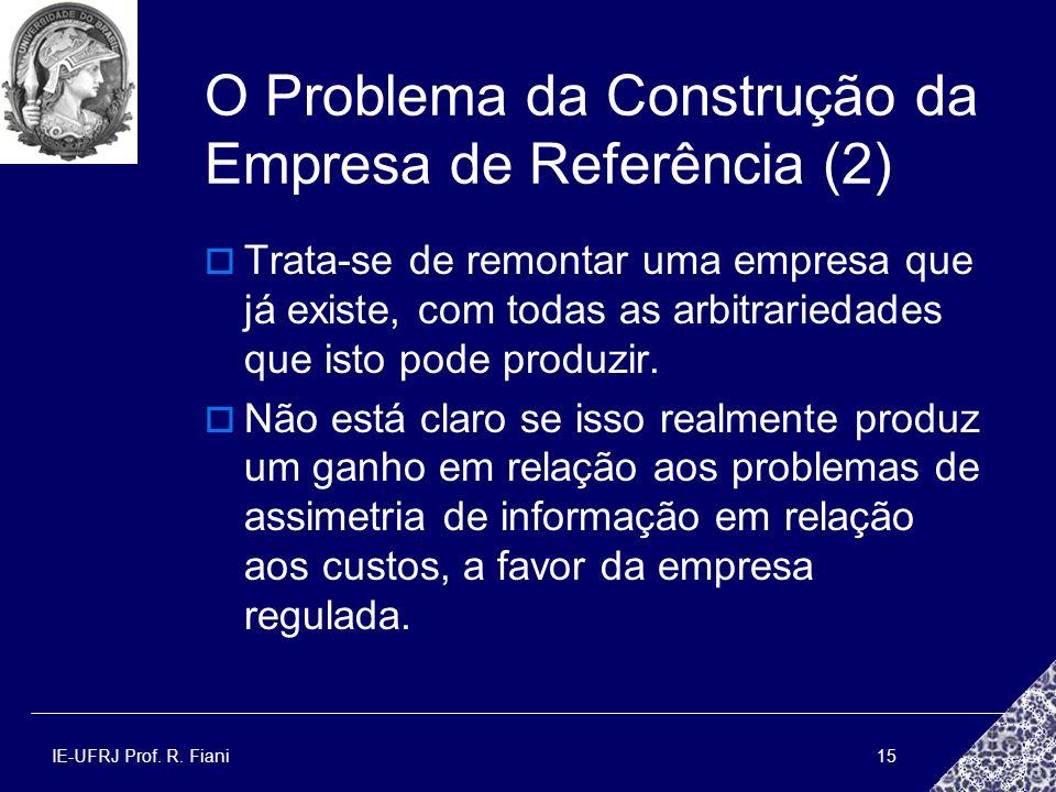 IE-UFRJ Prof. R. Fiani15 O Problema da Construção da Empresa de Referência (2) Trata-se de remontar uma empresa que já existe, com todas as arbitrarie