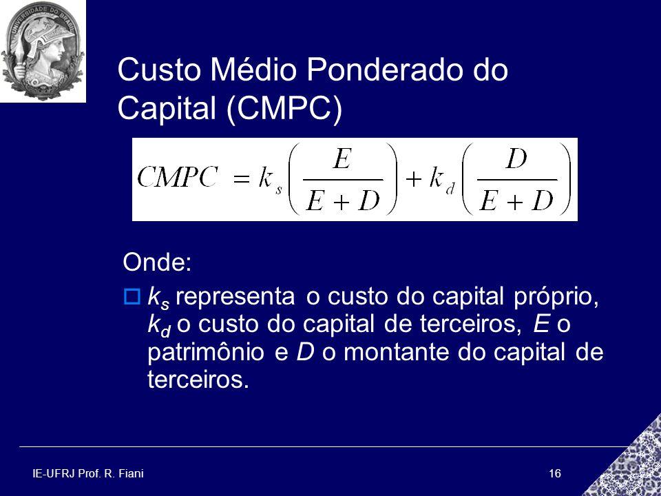 IE-UFRJ Prof. R. Fiani16 Custo Médio Ponderado do Capital (CMPC) Onde: k s representa o custo do capital próprio, k d o custo do capital de terceiros,