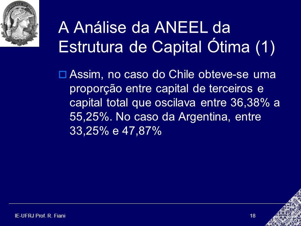 IE-UFRJ Prof. R. Fiani18 A Análise da ANEEL da Estrutura de Capital Ótima (1) Assim, no caso do Chile obteve-se uma proporção entre capital de terceir