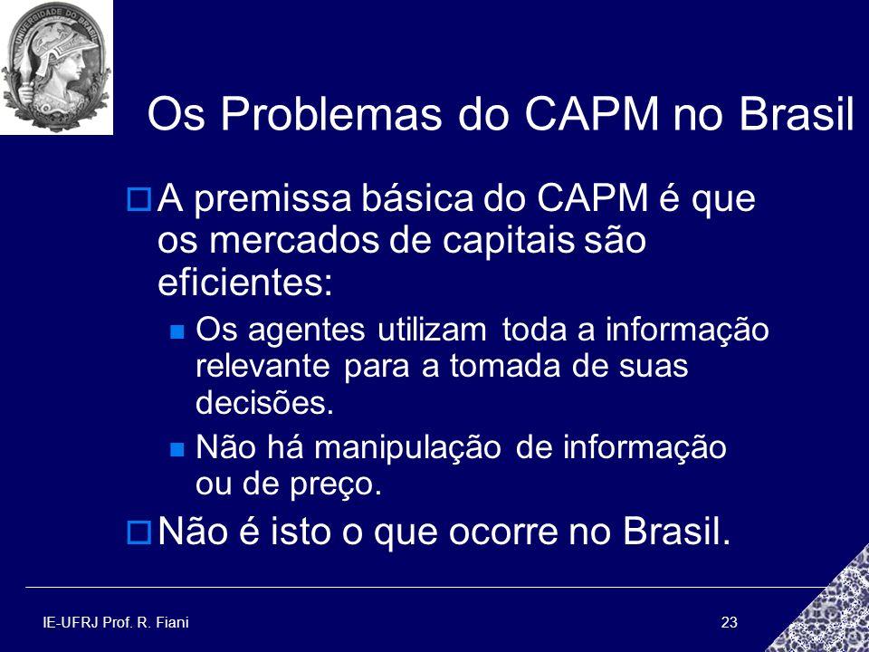 IE-UFRJ Prof. R. Fiani23 Os Problemas do CAPM no Brasil A premissa básica do CAPM é que os mercados de capitais são eficientes: Os agentes utilizam to