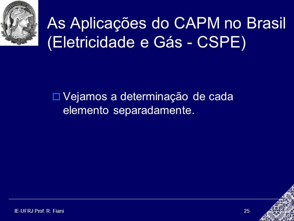 IE-UFRJ Prof. R. Fiani25 As Aplicações do CAPM no Brasil (Eletricidade e Gás - CSPE) Vejamos a determinação de cada elemento separadamente.