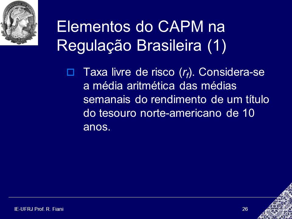 IE-UFRJ Prof. R. Fiani26 Elementos do CAPM na Regulação Brasileira (1) Taxa livre de risco (r f ). Considera-se a média aritmética das médias semanais