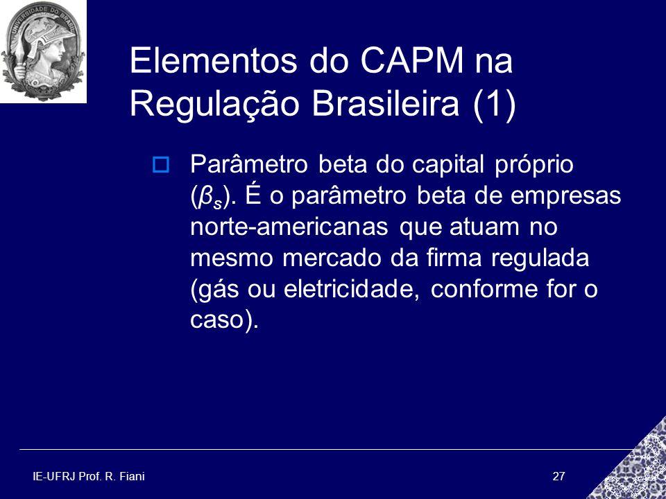 IE-UFRJ Prof. R. Fiani27 Elementos do CAPM na Regulação Brasileira (1) Parâmetro beta do capital próprio (β s ). É o parâmetro beta de empresas norte-