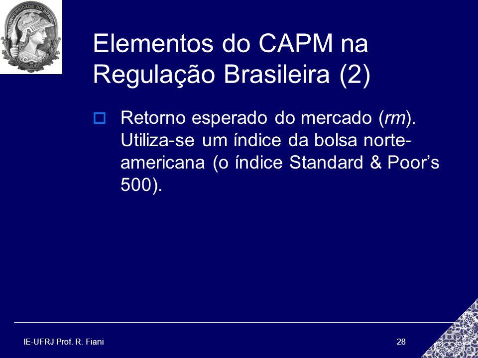 IE-UFRJ Prof. R. Fiani28 Elementos do CAPM na Regulação Brasileira (2) Retorno esperado do mercado (rm). Utiliza-se um índice da bolsa norte- american