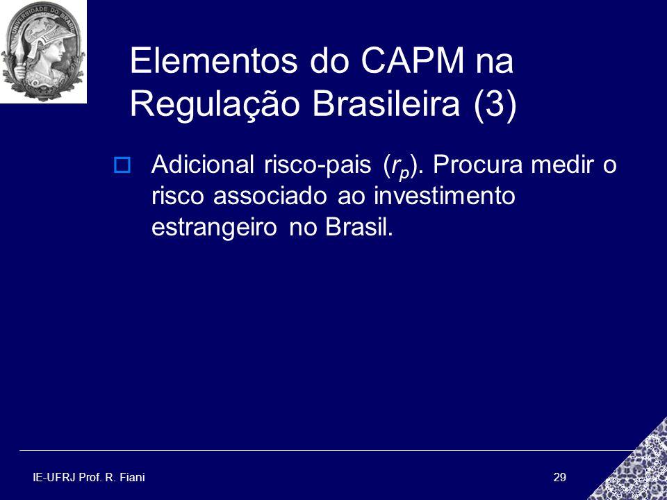 IE-UFRJ Prof. R. Fiani29 Elementos do CAPM na Regulação Brasileira (3) Adicional risco-pais (r p ). Procura medir o risco associado ao investimento es