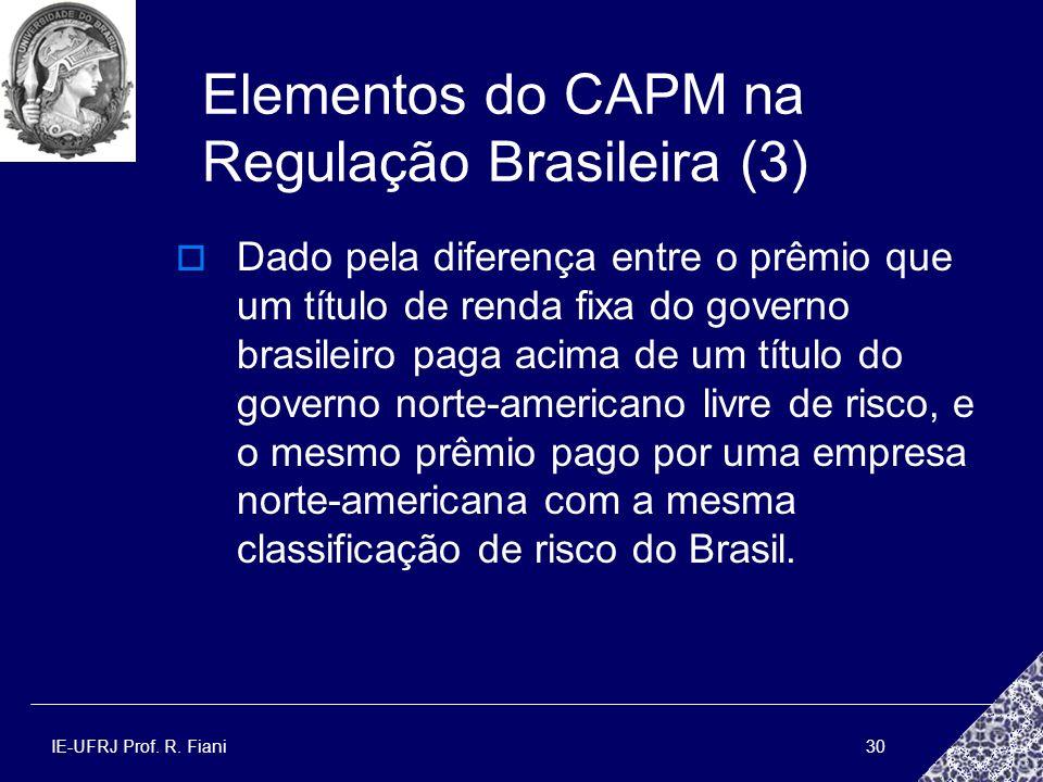 IE-UFRJ Prof. R. Fiani30 Elementos do CAPM na Regulação Brasileira (3) Dado pela diferença entre o prêmio que um título de renda fixa do governo brasi