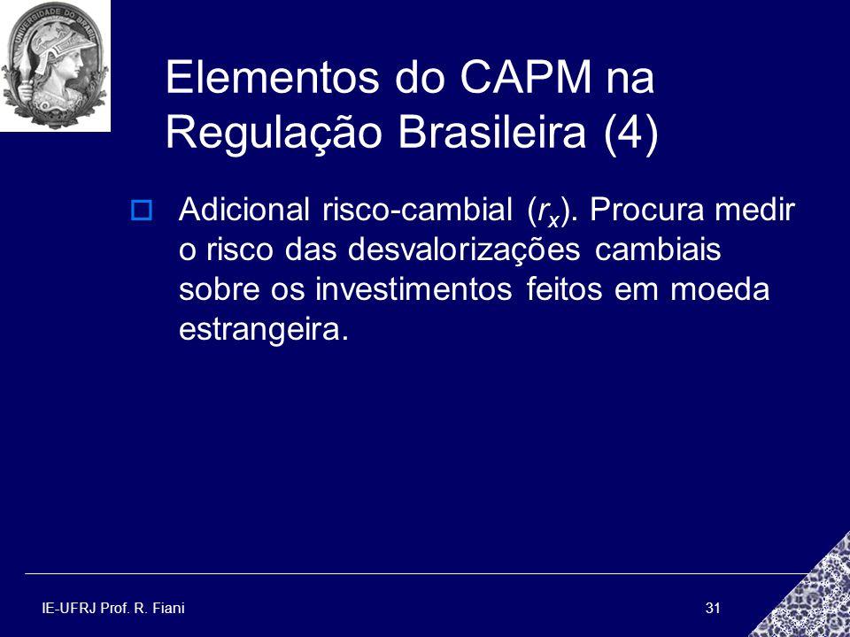 IE-UFRJ Prof. R. Fiani31 Elementos do CAPM na Regulação Brasileira (4) Adicional risco-cambial (r x ). Procura medir o risco das desvalorizações cambi