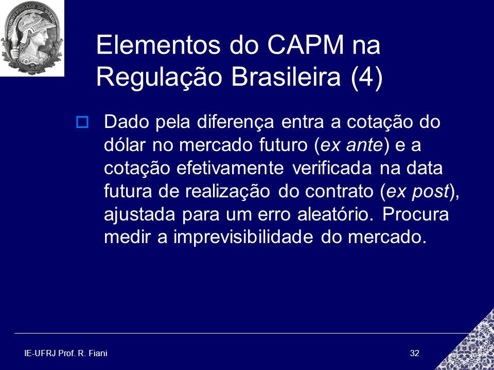 IE-UFRJ Prof. R. Fiani32 Elementos do CAPM na Regulação Brasileira (4) Dado pela diferença entra a cotação do dólar no mercado futuro (ex ante) e a co