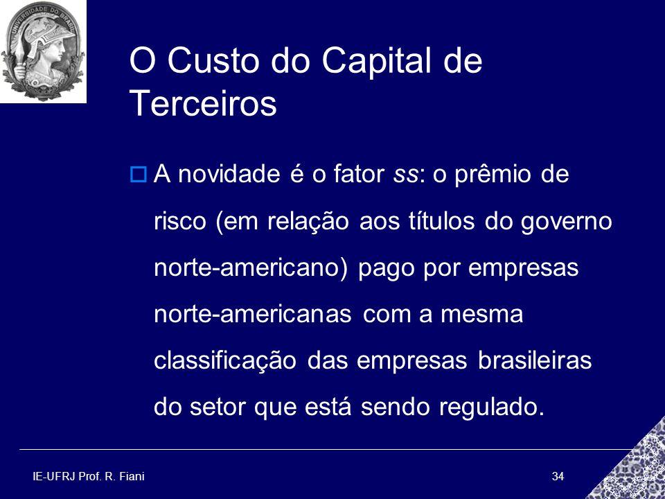IE-UFRJ Prof. R. Fiani34 O Custo do Capital de Terceiros A novidade é o fator ss: o prêmio de risco (em relação aos títulos do governo norte-americano