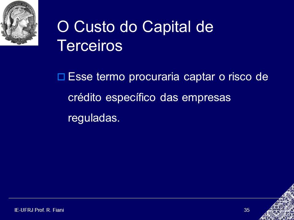 IE-UFRJ Prof. R. Fiani35 O Custo do Capital de Terceiros Esse termo procuraria captar o risco de crédito específico das empresas reguladas.