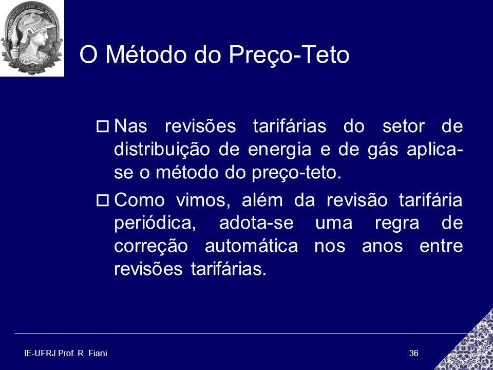 IE-UFRJ Prof. R. Fiani36 O Método do Preço-Teto Nas revisões tarifárias do setor de distribuição de energia e de gás aplica- se o método do preço-teto