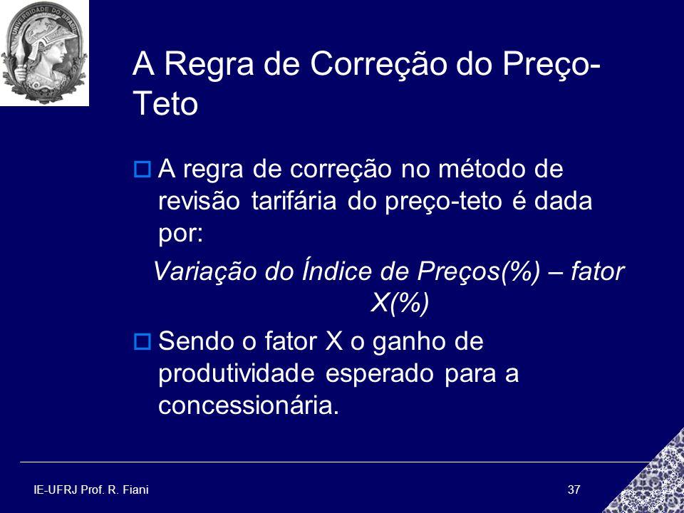 IE-UFRJ Prof. R. Fiani37 A Regra de Correção do Preço- Teto A regra de correção no método de revisão tarifária do preço-teto é dada por: Variação do Í